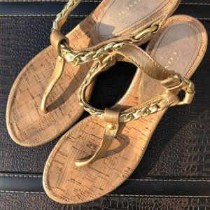 Coach Gold Heel/wedge Sandals